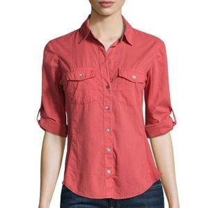 James Perse XS Contrast Ribbed Surplus Red Shirt